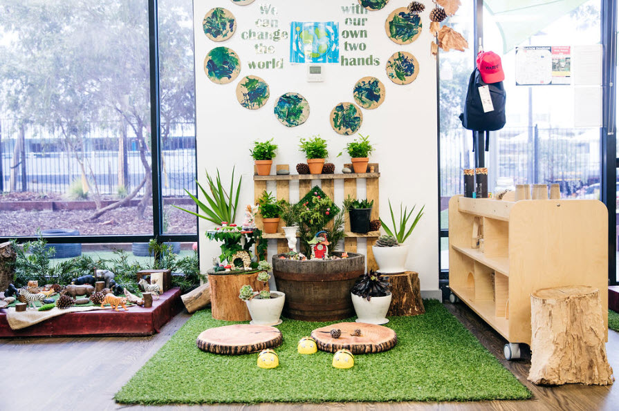 Creative spaces made with natural elements support sustainable practice in childcare