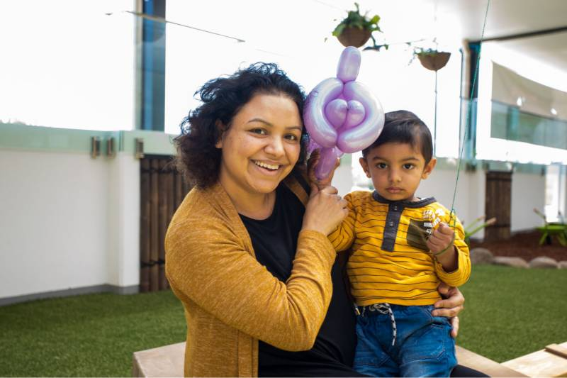 Mum and child learn all about their local Petit ELJ centre and how the Early Years Learning Framework guides early childhood educators.