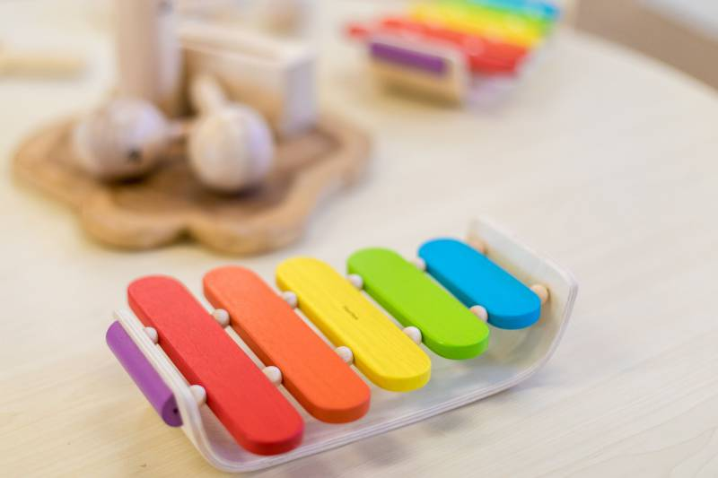 Colourful children's musical instrument with maracas in the background are fun to use in children's music games.