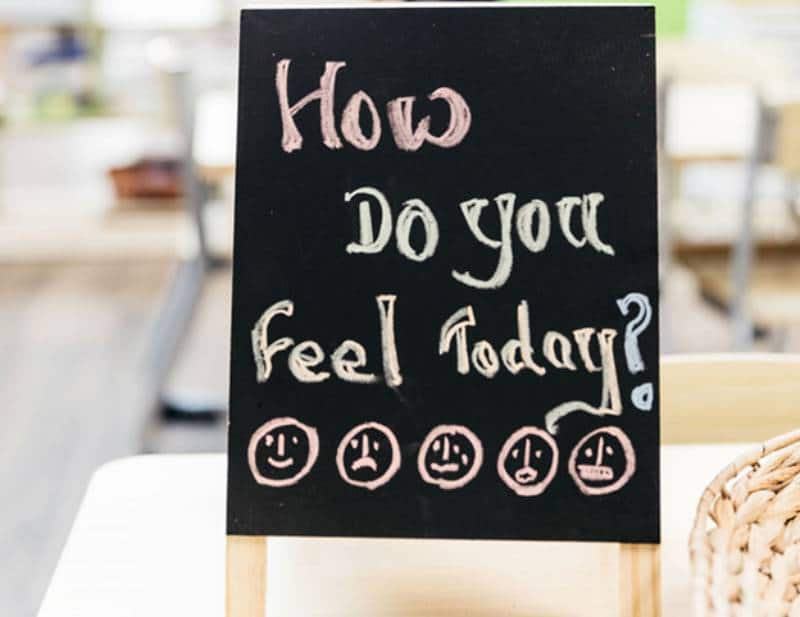 Blackboard with words 'How do you feel today?'