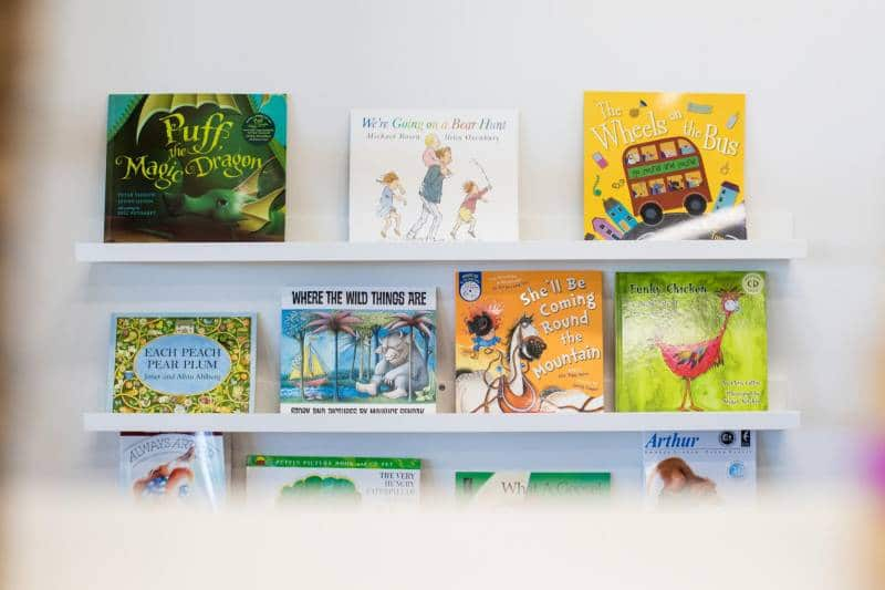 Children's books ready for reading at a Petit Early Learning Journey centre