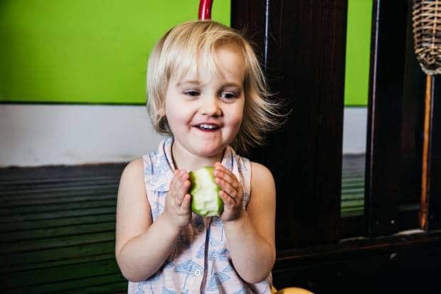 A delicious medium sized apple as a healthy snack idea for kids is equal to 1 serve of fruit.