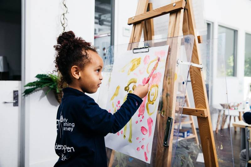 Child paints with brush on easel demonstrating fine and gross motor skills.