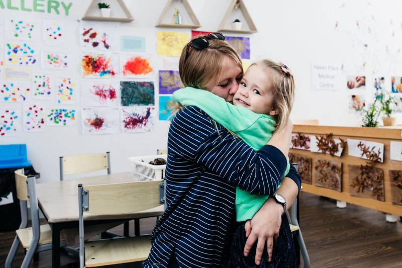 Hugs between mum and child help children to feel a sense of belonging and reduce toddler and baby biting.